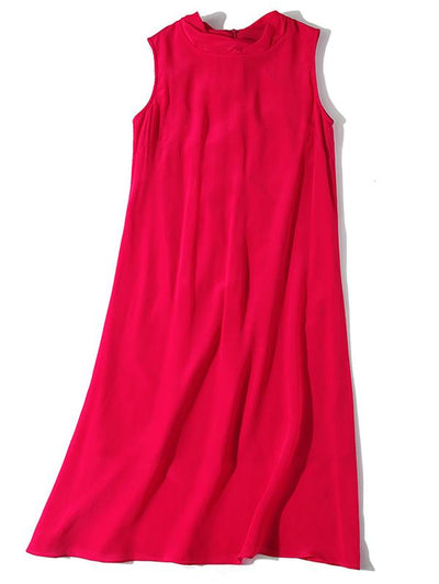 Brief Sleeveless Pure Color Tank O-Neck Casual Dresses