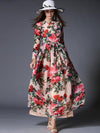 Elegant O-Neck Long Sleeve Lacing Print Maxi Dress
