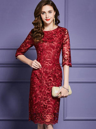 Elegant Hollow Out Embroidery Bodycon Casual Dresses