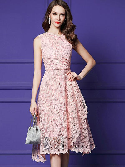 Chic Asymmetric High Waist Lace A-Line Casual Dresses
