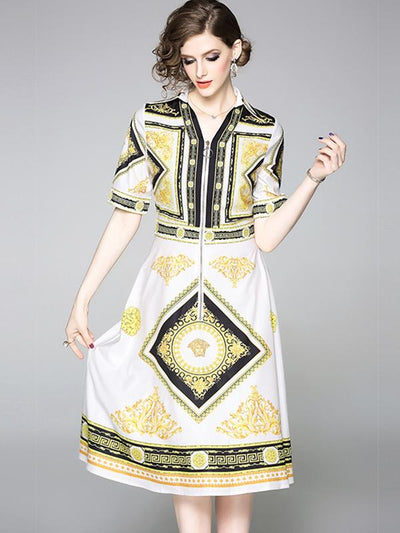 Stylish Zipper Geometric Print A-Line Casual Dresses