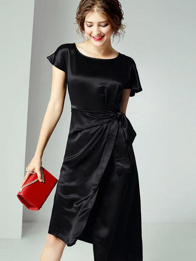 Elegant Asymmetric Lacing Fit  Flare Party Dresses