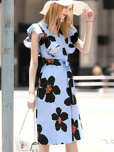 Bowknot Sashes Lotus Sleeves Skater Casual Dresses