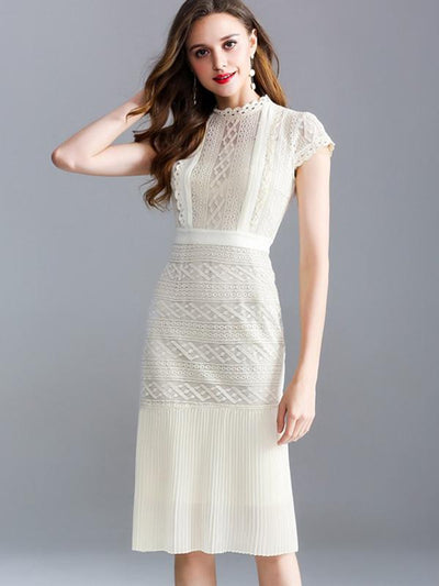 Elegant Hollow Out Lace Apricot Bodycon Casual Dresses
