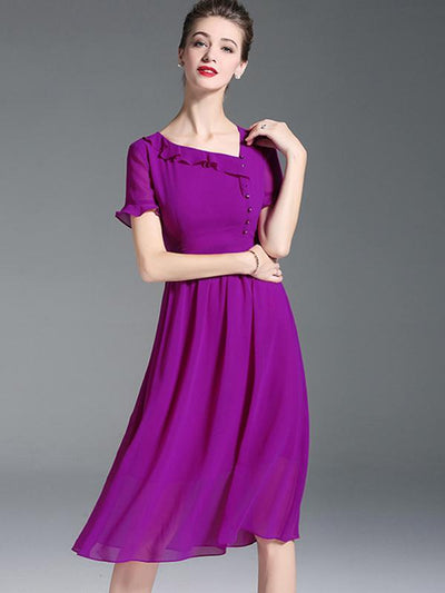 Brief High Waist Ruffled Button A-Line Casual Dresses