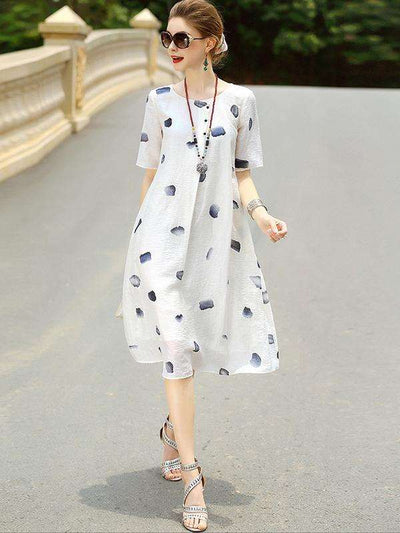 Simple White Linen Loose Print Casual Dresses