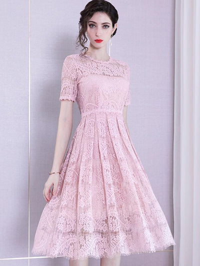 Elegant Hollow Out Pink Lace A-Line Casual Dresses