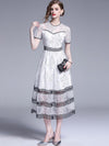 White Stitching Black Lace Hollow Out Skater Casual Dresses