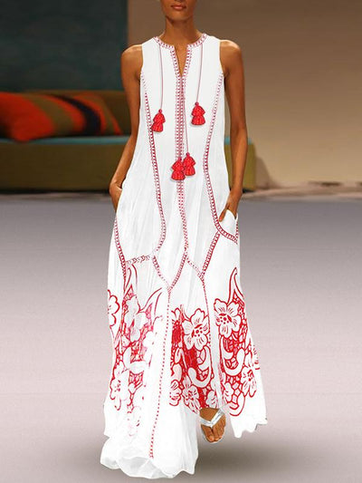 Ethnic Tassels Sleeveless Print Big Hem Beach Casual Dresses