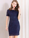 Simple Embroidery Slim Mini Bodycon Casual Dresses