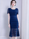 Elegant Lace Stitching Slim Hollow Out Sheath Casual Dresses