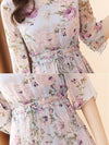 Simple Lacing Half Sleeve Print Skater Casual Dresses