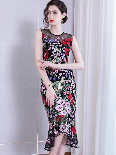 Floral Mermaid Embroidery Mesh Bodycon Casual Dresses