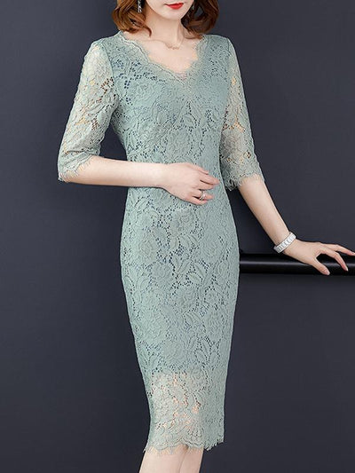 Elegant Lace Hollow Out Stitching Sheath Casual Dresses