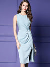 Brief Ruffled Slit High Waist Slim Bodycon Party Dresses