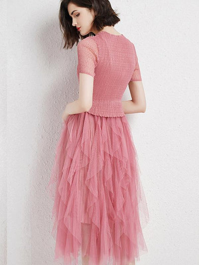 Irregular Lace Stitching Mesh Ruffled Skater Casual Dresses