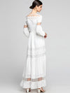 Party Hollow Out Stitching White Maxi Casual Dresses