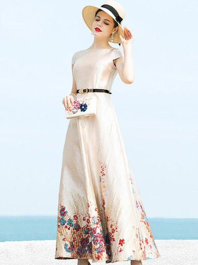 Elegant Jacquard Big Hem High Waist Maxi Casual Dresses