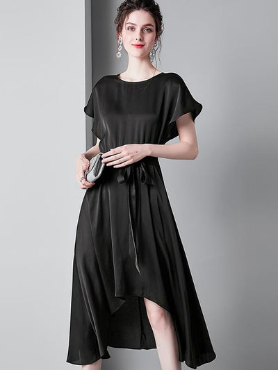 Backless Sashes Irregular A-Line Casual Dresses