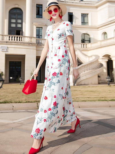 Single Breasted Vintage Floral Print Maxi Casual Dresses