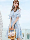Chiffon Lotus Sleeves Gathered Waist Fit  Flare Casual Dresses