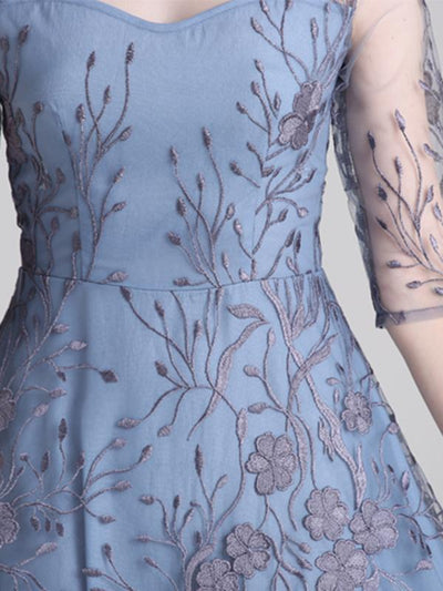 Mesh Embroidery Perspective O-Neck Skater Dress