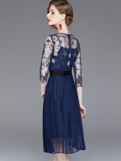 Exquisite 3/4 Sleeve Embroidery Perspective A-Line Dress