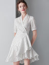 Bowknot Asymmetric Polka Dot Falbala High Waist Dress