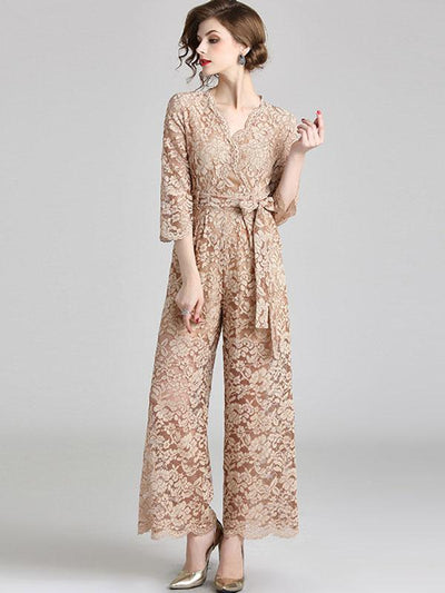 Vintage Lace Sashes Beige V-Neck 3/4 Sleeve Wide Leg Jumpsuits