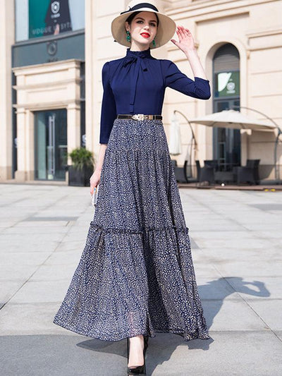Vintage Stand Collar High Waist Stitching Falbala Maxi Casual Dresses(Without Belt)
