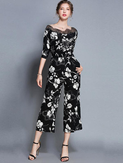 Lace Stitching Pocket High Waist Straight Jumpsuits