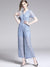 Work Hollow Out Lace High Waist Wide Leg Jumpsuits