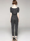 Boat Neck Gathered Waist Polka Dot Straight Jumpsuits