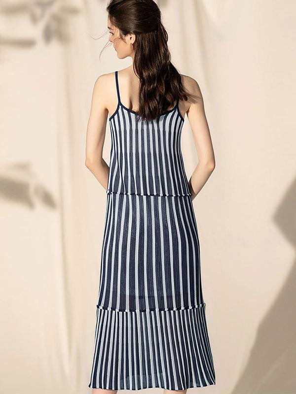 Casual Irregular Patchwork Stripe Slip Dress