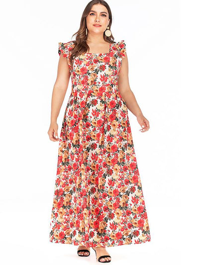 Oversize Bohemian Print Falbala Square Neck Maxi Dress