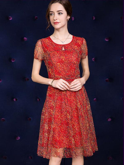 Mesh Red Print Gathered Waist A-Line Dress