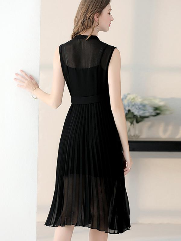 Black Perspective Single Breasted Pleated Dress