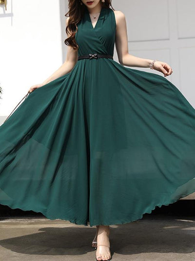 Off-The-Shoulder Gathered Waist Big Hem Maxi Dress