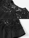 Hollow Out Lace Gathered Waist A-Line Dress