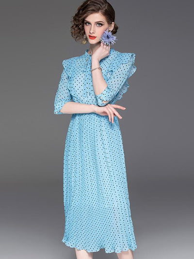 Elegant Polka Dot Falbala 3/4 Sleeve Skater Dress