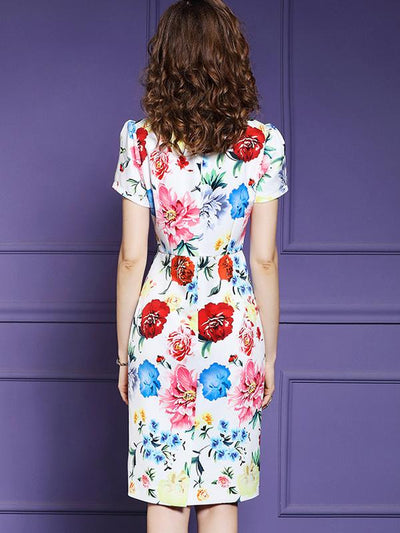 Bodycon Floral Print V-Neck Slim Sheath Dress