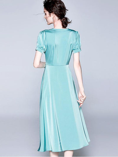 Big Hem Gathered Waist Button Ruffled A-Line Dress