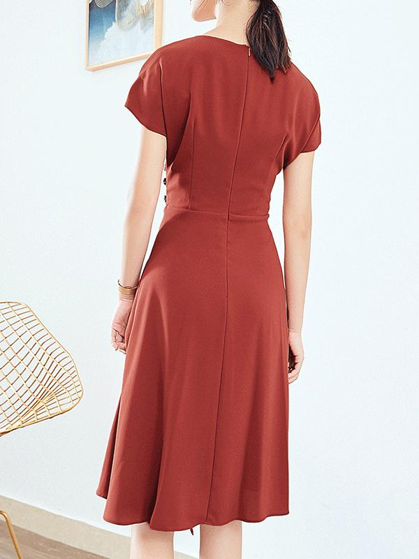 Brick Red Asymmetric High Waist Zipper Skater Dress