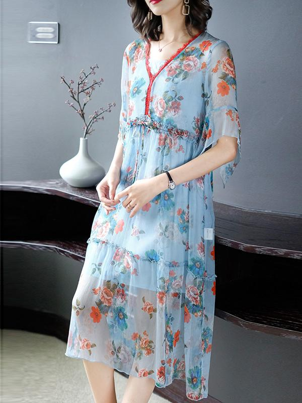 Loose Lotus Sleeves Perspective Ruffled Print Shift Dress