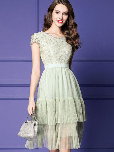 Mesh Stitching Lace Perspective High Waist Skater Dress