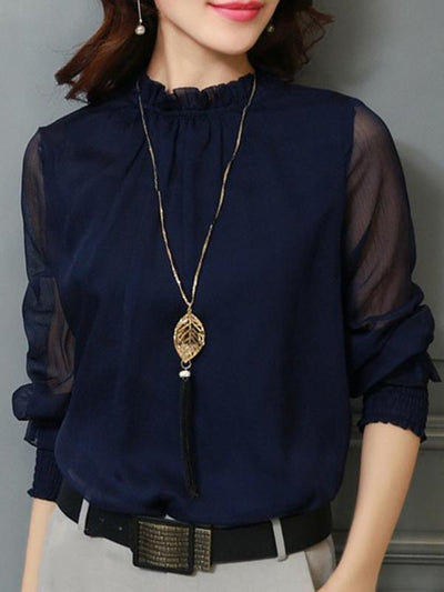 Chiffon Lace Ruffled Stand Collar Perspective Work Blouses