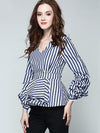Stripe Puff Sleeve Slim Zipper Stylish Blouses
