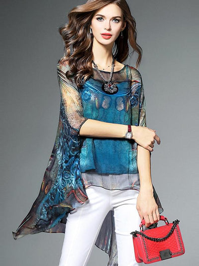 Casual Asymmetric Loose Print Cape Sleeve Blouses