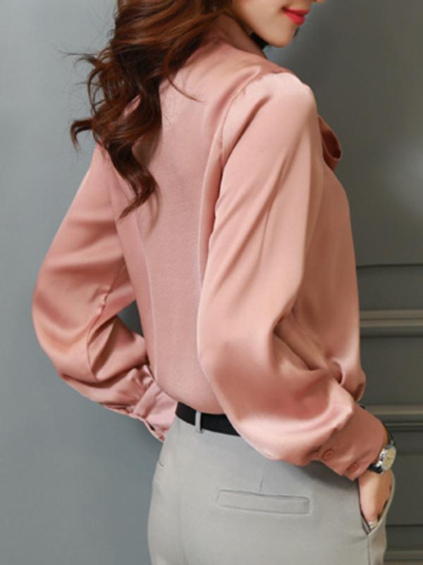 Work Bowknot Stand Collar Pink Silk Blouses