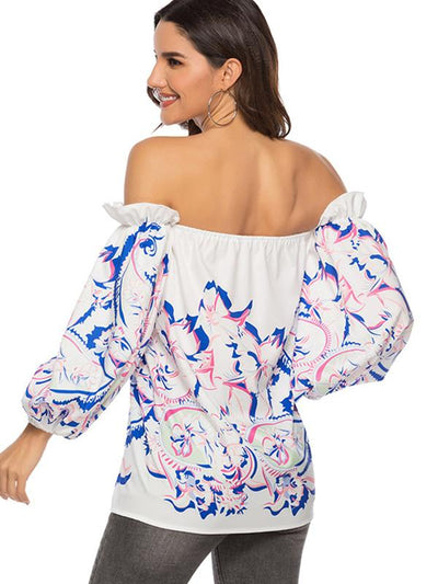 Sexy Slash Neck Puff Sleeve Backless Blouses